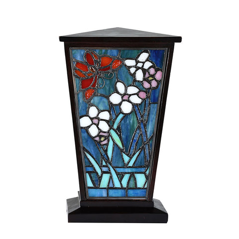 Butterfly Garden Stained Glass Cremation Urn - Brown