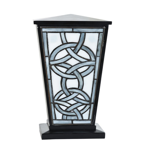 Modern Celtic Stained Glass Cremation Urn - Black