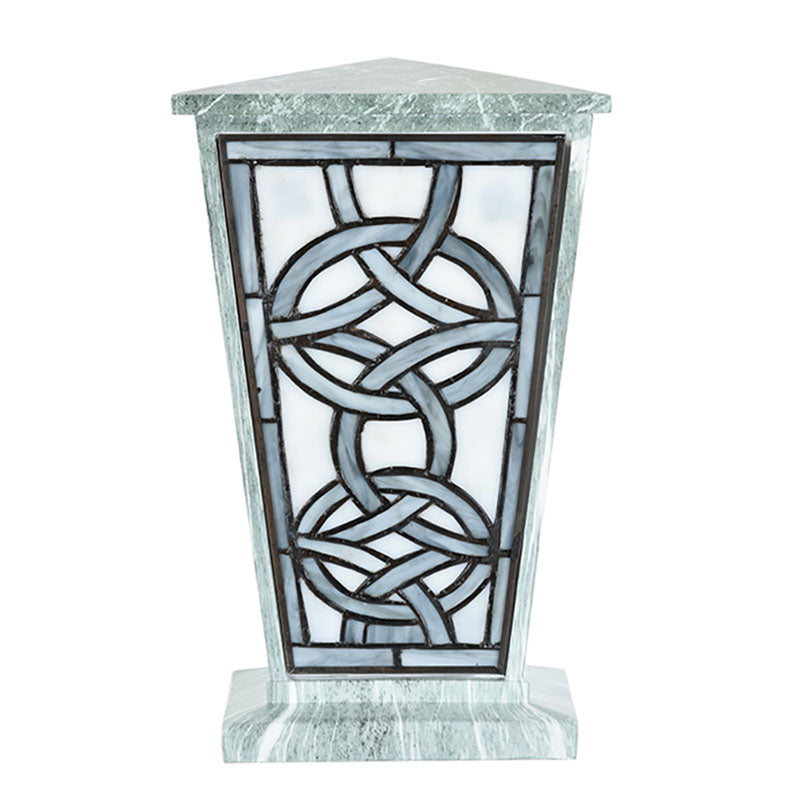 Modern Celtic Stained Glass Cremation Urn - Jade