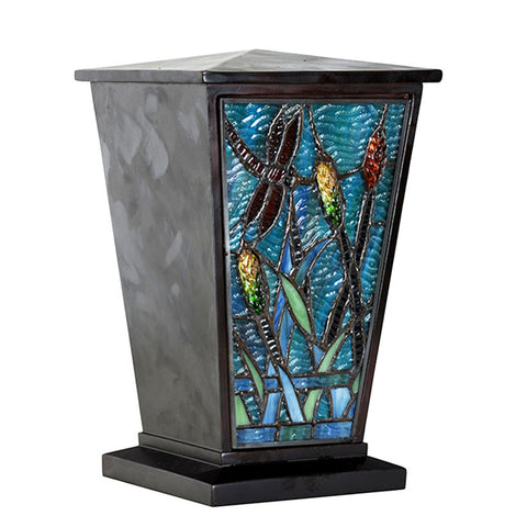 Dragonfly Stained Glass Cremation Urn - Brown