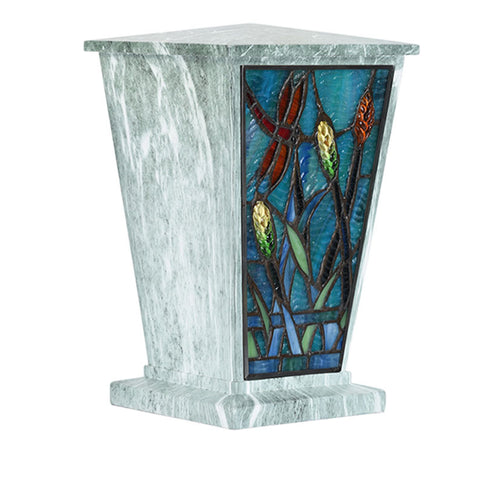 Dragonfly Stained Glass Cremation Urn - Jade