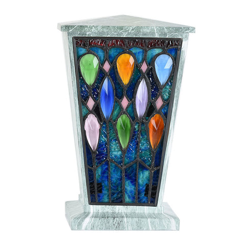 Enchanted Forest Stained Glass Cremation Urn - Jade