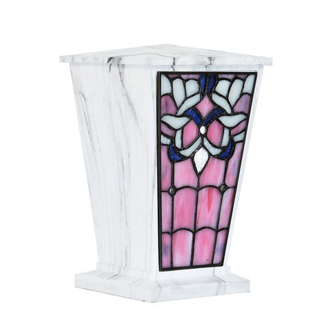 Jeweled Sunset Stained Glass Cremation Urn - White