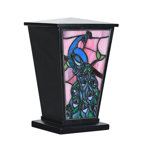Peacock Stained Glass Cremation Urn - Black