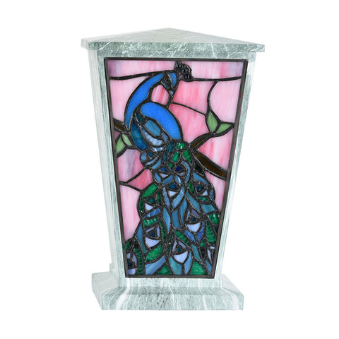 Peacock Stained Glass Cremation Urn - Jade
