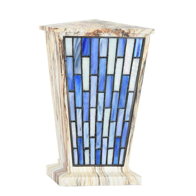 Modern Blue Geometric Stained Glass Cremation Urn - Alluvium