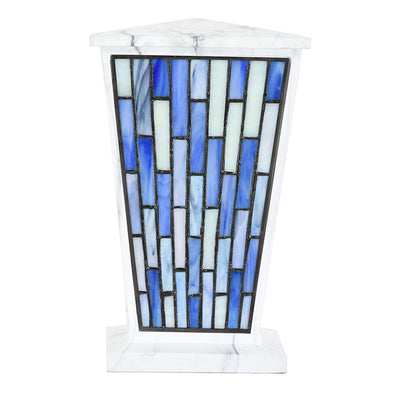 Modern Blue Geometric Stained Glass Cremation Urn - White