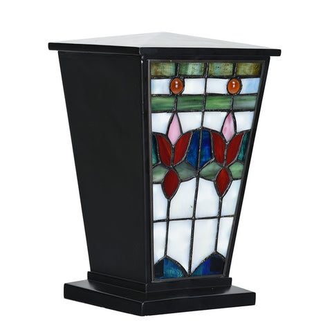 Sky Flowers Stained Glass Cremation Urn - Black