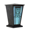 Turquoise Heart Filigree Stained Glass Cremation Urn - Brown