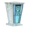 Turquoise Heart Filigree Stained Glass Cremation Urn - Jade
