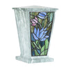 Water Lily Stained Glass Cremation Urn - Jade
