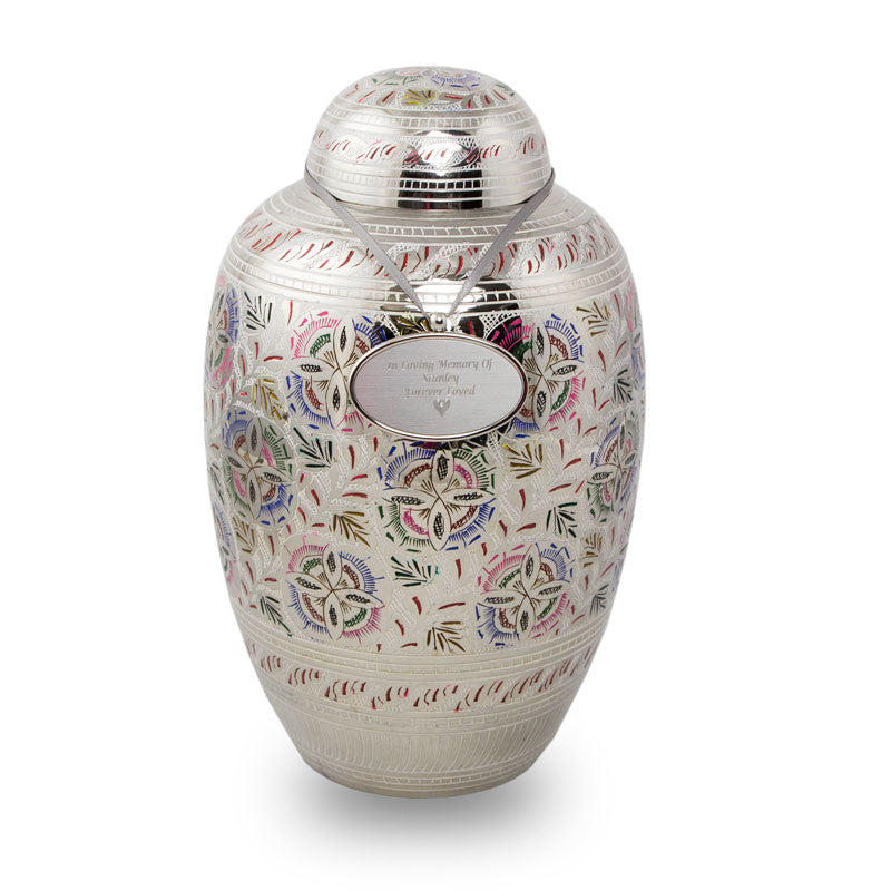 Large cremation urn with gorgeous pink and green flower pattern etched into the polished brass. 200 cu in. With Silver Oval Engraving pendant