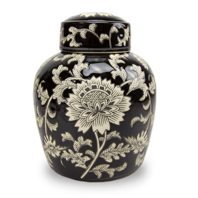 Lotus Ceramic Cremation Urn - Black