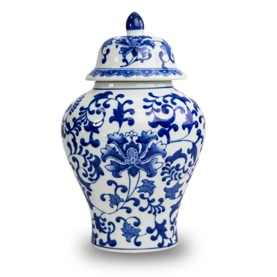 Ceramic Temple Cremation Urn - Blue Floral