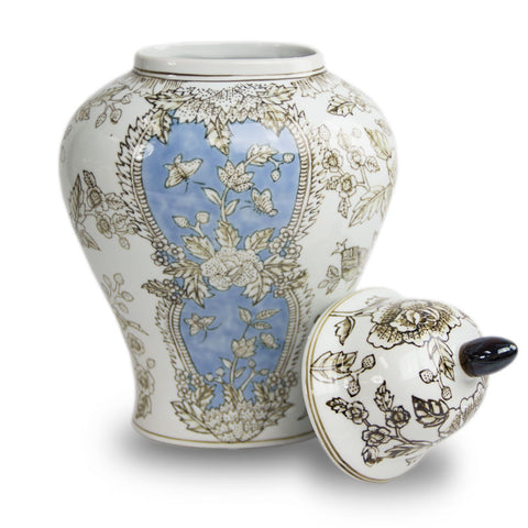 White and Blue Floral Temple Cremation Urn