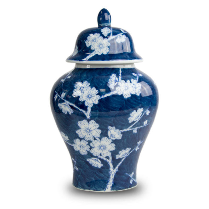 Plum Blossom Blue Temple Ceramic Urn
