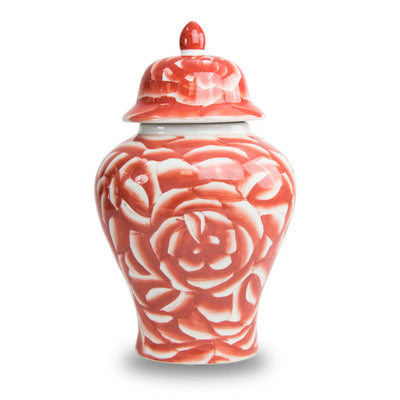 Coral Rose Temple Ceramic Urn