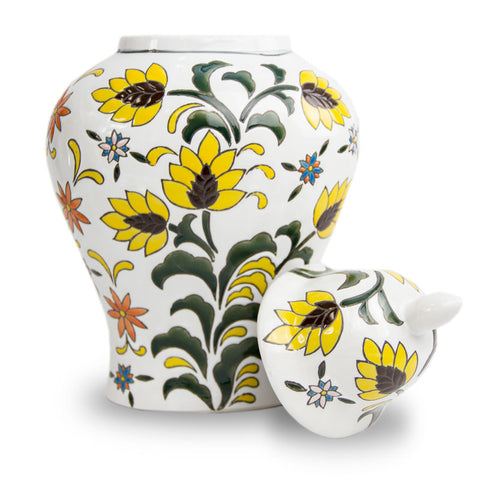 Yellow Flower Temple Ceramic Urn