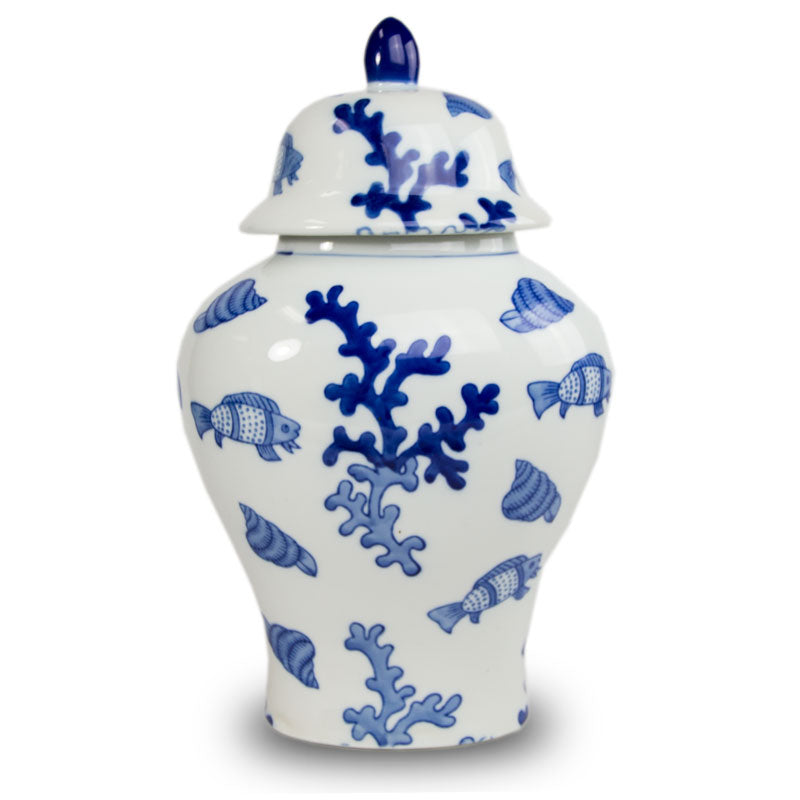 Blue Sea Coral Temple Ceramic Urn