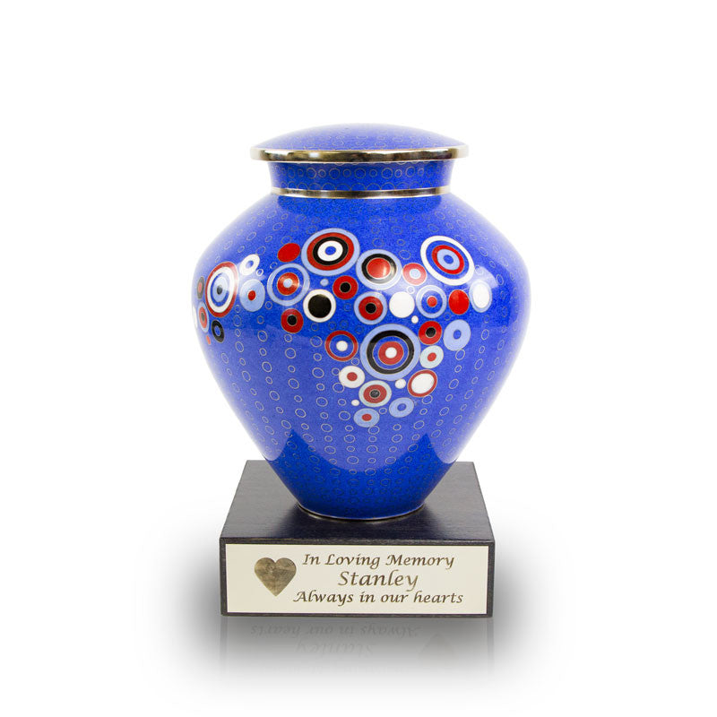 Opulence Blue Geometric Cloisonne Cremation Urn