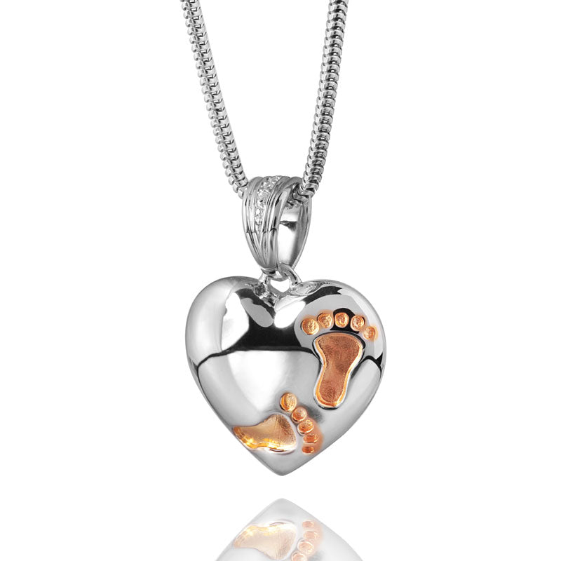 Footprints on My Heart Cremation Pendant - Sterling Silver