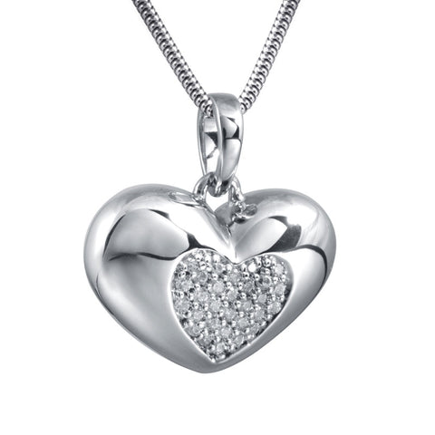 Jeweled Heart Cremation Pendant - Sterling Silver