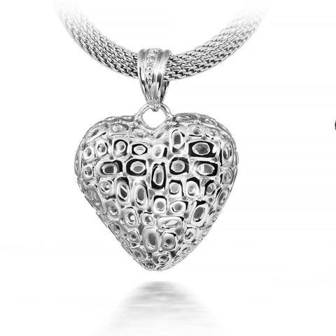Pierced Heart Cremation Urn Pendant - Sterling Silver