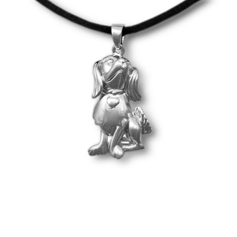 Happy Dog Cremation Pendant - Sterling Silver
