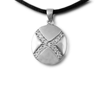 Sparkling Medallion Cremation Necklace Pendant - Sterling Silver