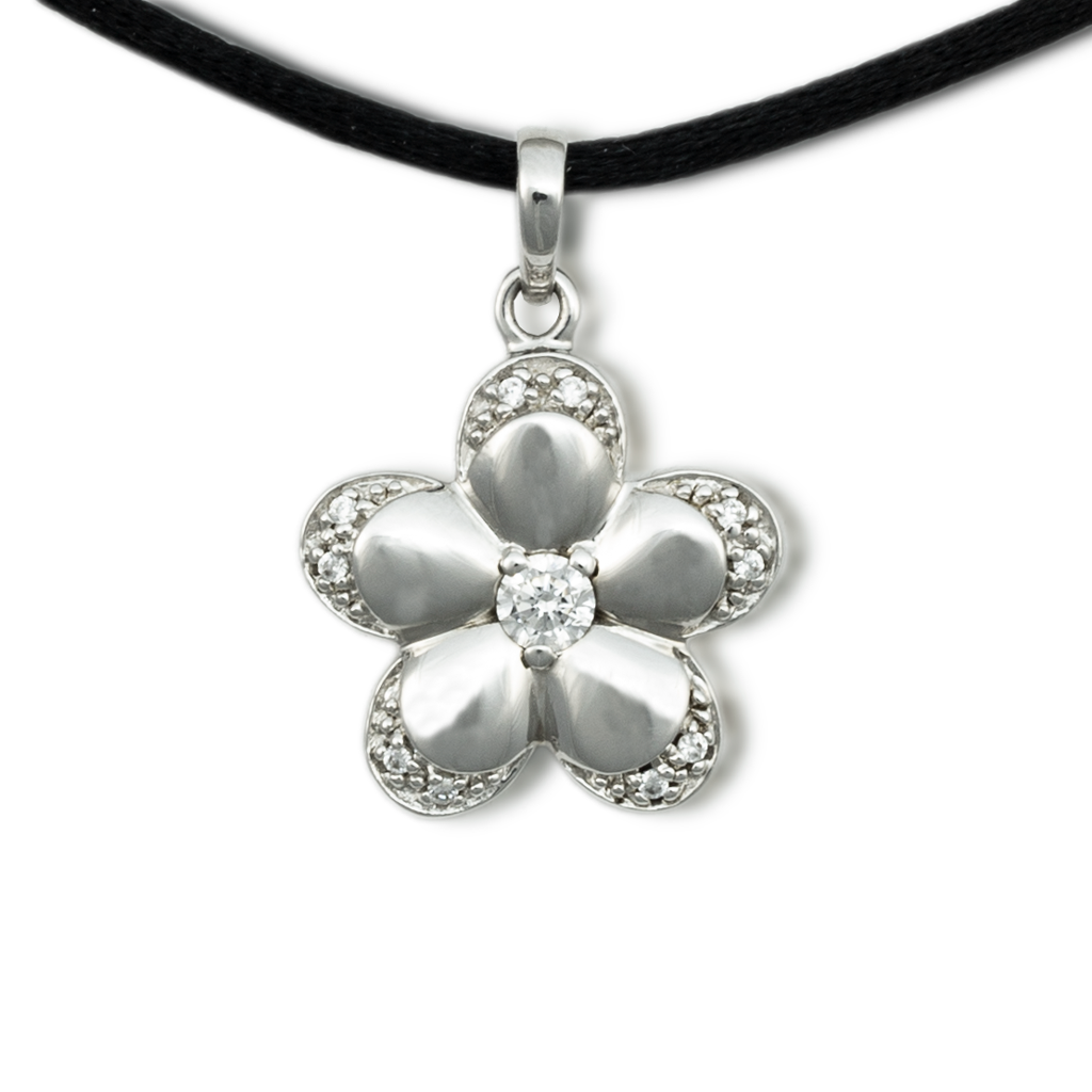 Flower Cremation Pendant - Sterling Silver