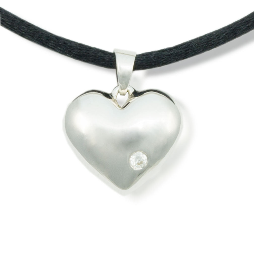 Sparkling Heart Cremation Pendant - Sterling Silver