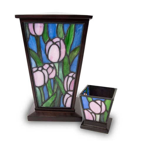 Pink Tulip Stained Glass Cremation Urn Set
