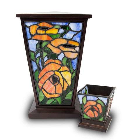 Red Orange Poppy Stained glass Cremation Urn Set