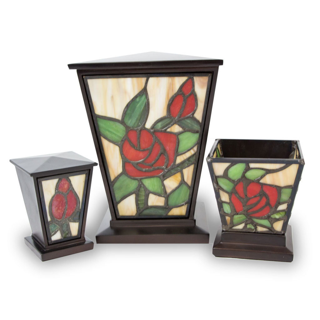 Red Rose Stained Glass Cremation Urn Set-Medium