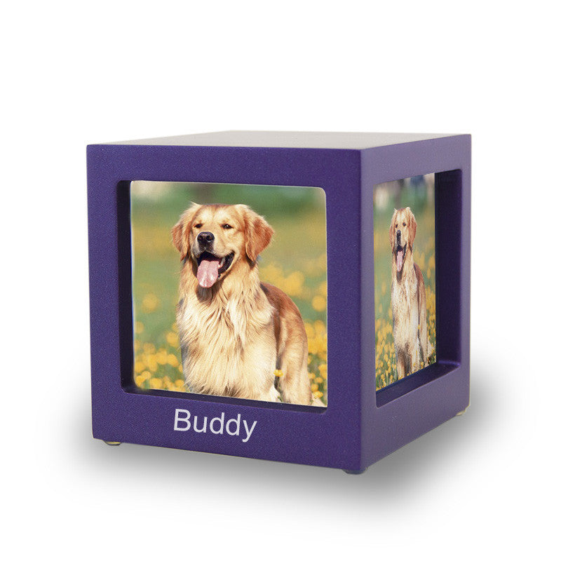 Violet Photo Cube Cremation Urn - Extra Small