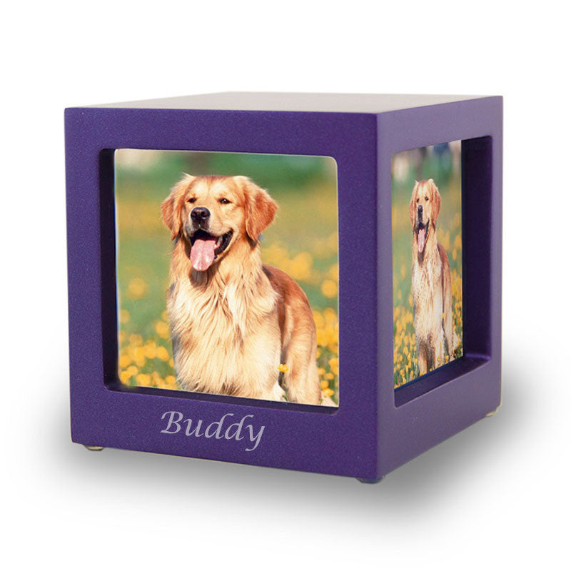 Violet Pet Photo Cube Urn - Small