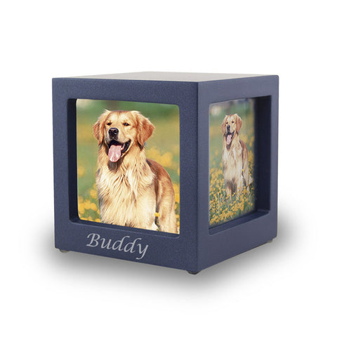 Navy Photo Cube Cremation Urn - Extra Small