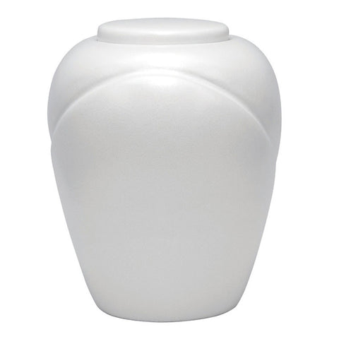 Traditional Biodegradable Cremation Urn - Pearl White