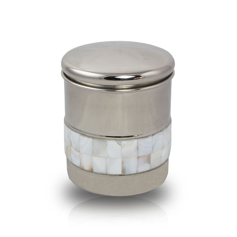 Metal Pet Cremation Urn - Mother of Pearl