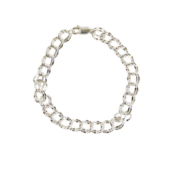 Sterling Silver Double Chain Link Bracelet for Cremation Charm