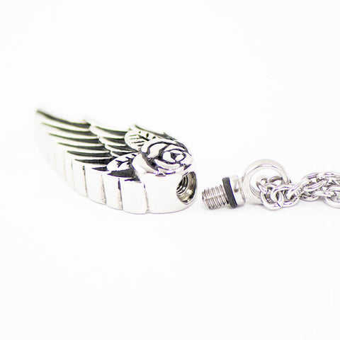 Angel Wing Cremation Pendant - Stainless Steel
