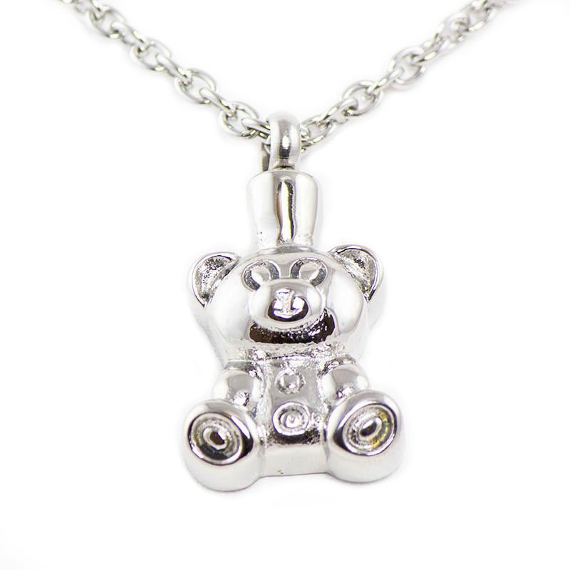 Teddy Bear Cremation Pendant - Stainless Steel