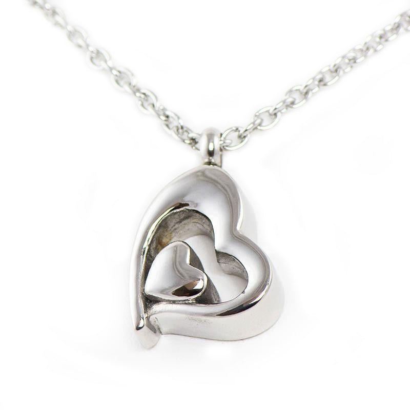 Silver Cremation Pendant - Our Hearts Combined