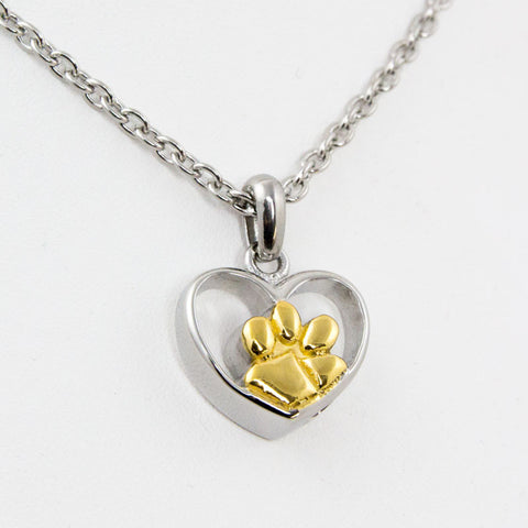 Golden Paw Cremation Heart Necklace