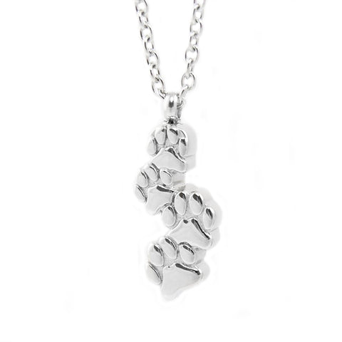 Stainless Steel Cremation Necklace - Paw Prints