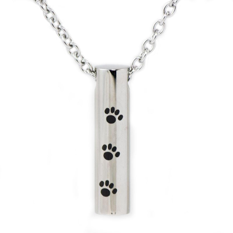 Paw Print Cylinder Cremation Pendant