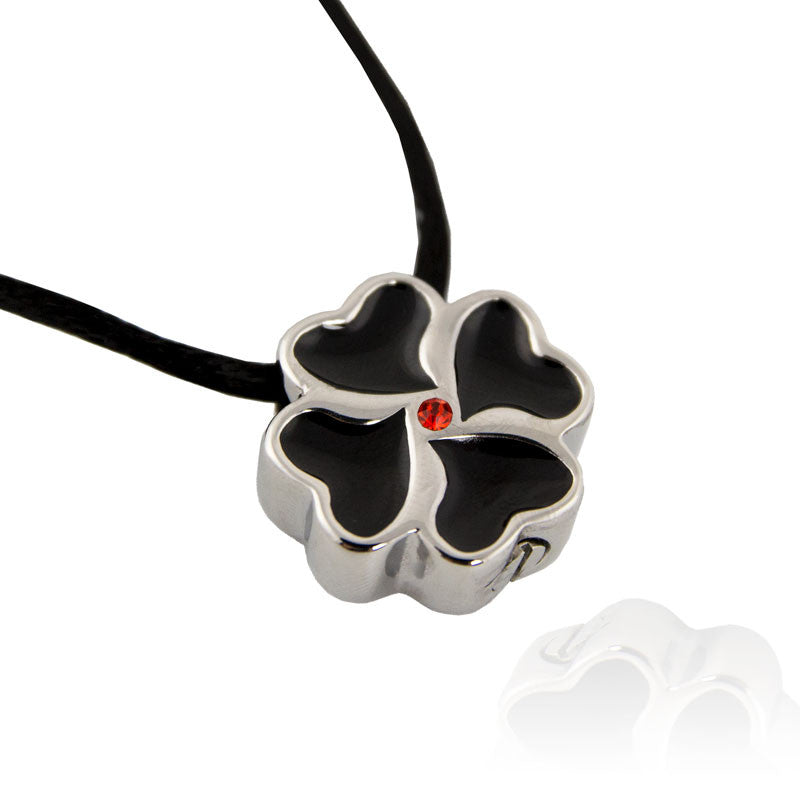Heart Clover Cremation Pendant - Stainless Steel