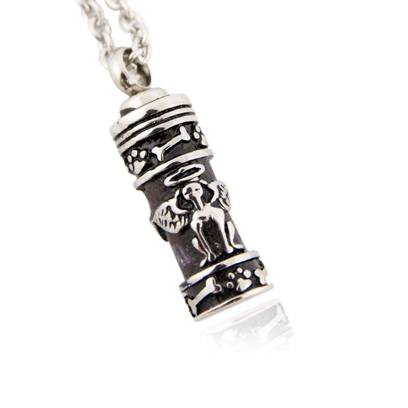 Carved Cylinder Cremation Pendant - Stainless Steel