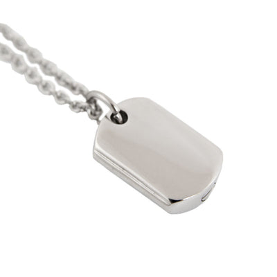 Dog Tag Cremation Pendant - Stainless Steel