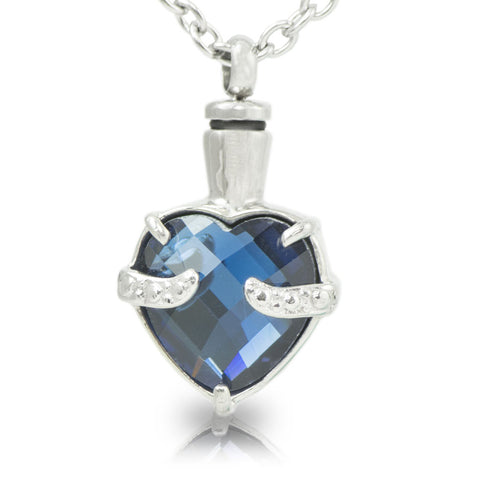 Ultramarine Heart Cremation Necklace for Ashes